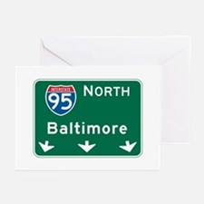Baltimore, MD Highway Sign Greeting Cards (Pk of 1