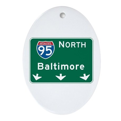 Baltimore, MD Highway Sign Oval Ornament