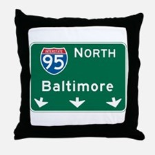 Baltimore, MD Highway Sign Throw Pillow