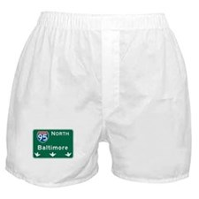 Baltimore, MD Highway Sign Boxer Shorts
