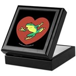 ASL Frog in Heart Black Keepsake Box