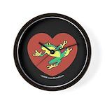 ASL Frog in Heart Black Wall Clock