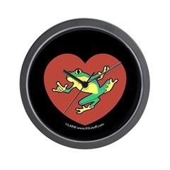ASL Frog in Heart Black Wall Clock
