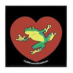 ASL Frog in Heart Black Tile Coaster