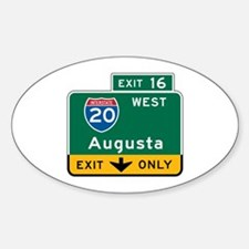 Augusta, GA Highway Sign Oval Decal