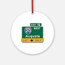 Augusta, GA Highway Sign Ornament (Round)