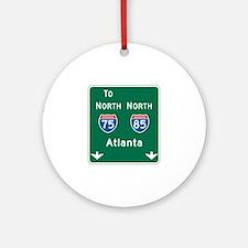 Atlanta, GA Highway Sign Ornament (Round)