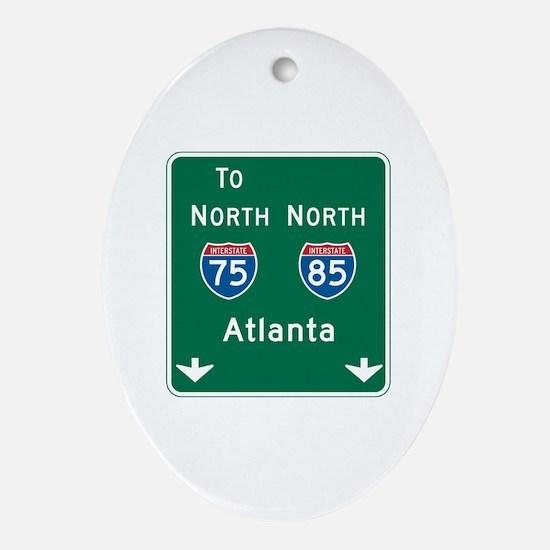 Atlanta, GA Highway Sign Oval Ornament