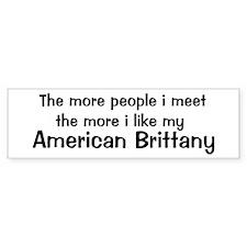 I like my American Brittany Bumper Bumper Sticker