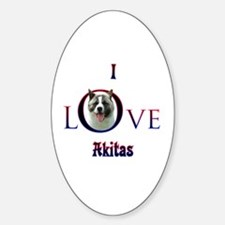 Akita I Love Oval Decal