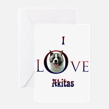 Akita I Love Greeting Card