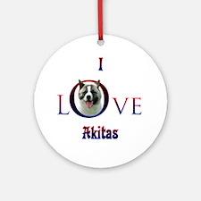 Akita I Love Ornament (Round)
