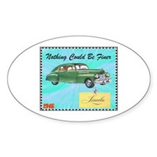"""""""1946 Lincoln Ad"""" Oval Decal"""
