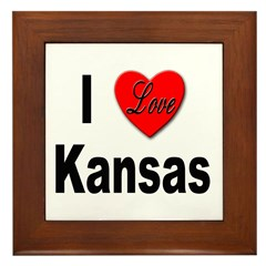 I Love Kansas Framed Tile