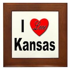 I Love Kansas Framed Tile