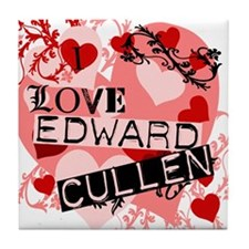 I Love Edward Cullen Tile Coaster