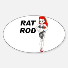Rat Rod Red Oval Stickers