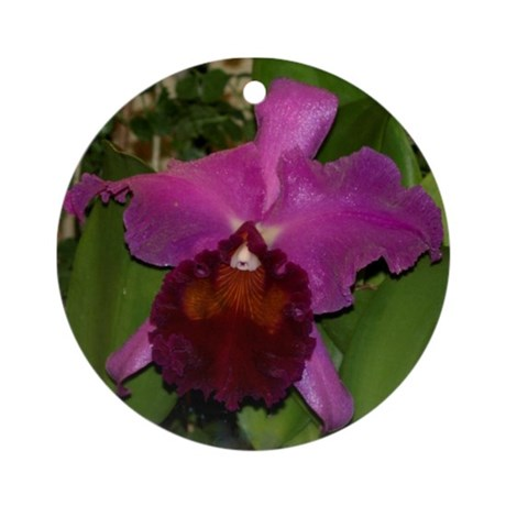 Deep Purple Orchid Ornament (Round)