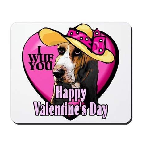 Basset Hound Valentines Mousepad