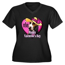 Basset Hound Valentines Women's Plus Size V-Neck D