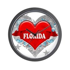 My Heart Florida Vector Style Wall Clock