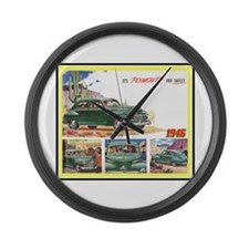 """1946 Plymouth Ad"" Large Wall Clock"