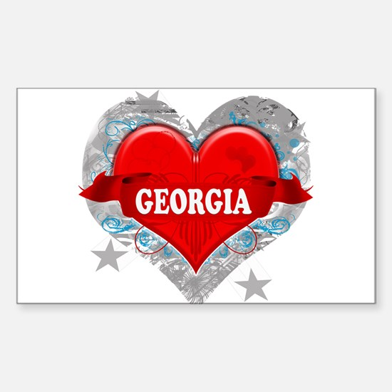 My Heart Georgia Vector Style Rectangle Decal