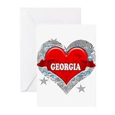 My Heart Georgia Vector Style Greeting Cards (Pk o