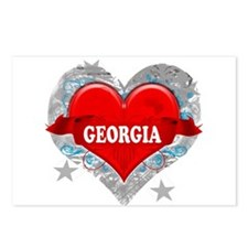 My Heart Georgia Vector Style Postcards (Package o