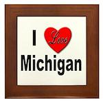 I Love Michigan Framed Tile