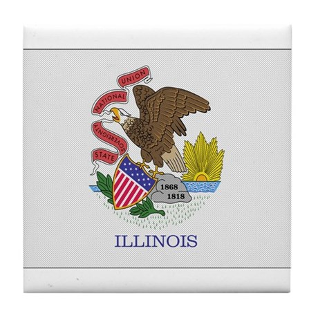 Beloved Illinois Flag Modern Tile Coaster