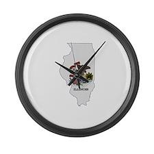 Illinois Stripe Custom Design Large Wall Clock