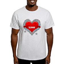 My Heart Illinois Vector Styl T-Shirt
