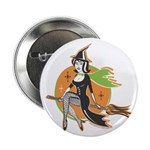 """Vintage Halloween Witch 2.25"""" Button (100 pac"""
