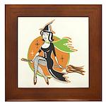 Vintage Halloween Witch Framed Tile