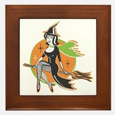Vintage Halloween Witch Framed Tile