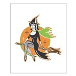 Vintage Halloween Witch Small Poster