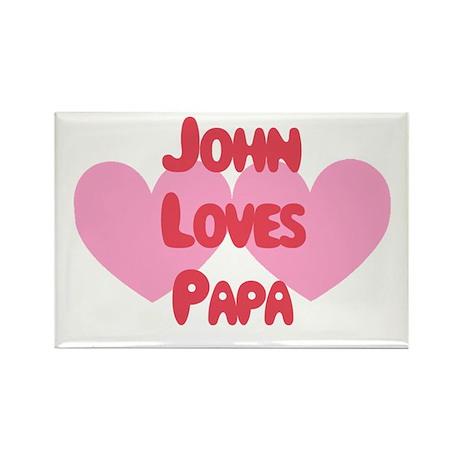 John Loves Papa Rectangle Magnet