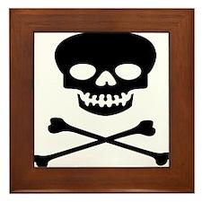 Black Skull and Crossbones Framed Tile