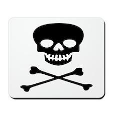 Black Skull and Crossbones Mousepad