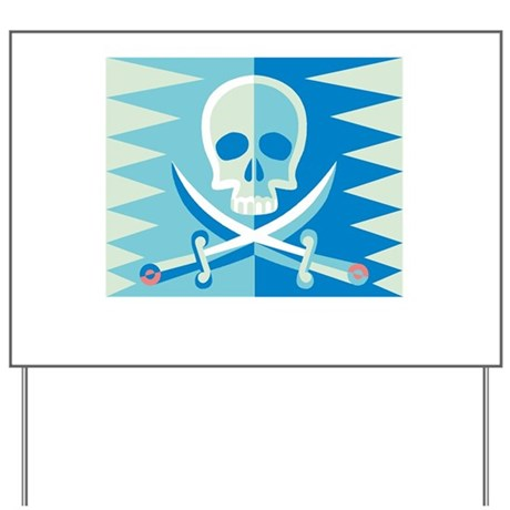 Skull and Swords in Blue Yard Sign