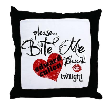 Bite Me Edward Cullen Throw Pillow