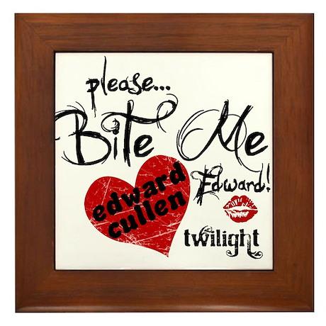 Bite Me Edward Cullen Framed Tile