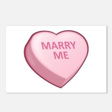 MARRY ME Candy Heart Postcards (Package of 8)