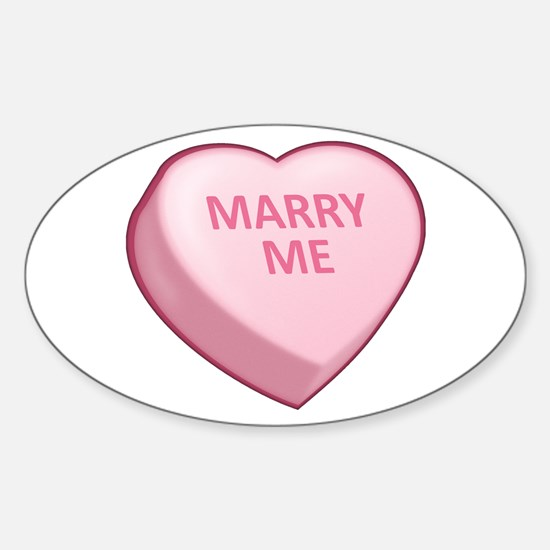 MARRY ME Candy Heart Oval Decal