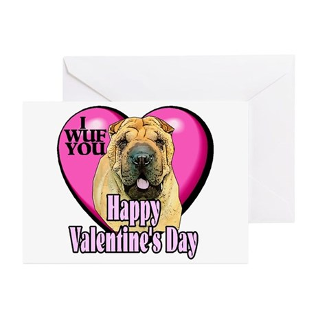 Chinese Shar-pei Valentines Greeting Cards (Pk of