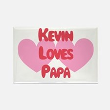 Kevin Loves Papa Rectangle Magnet