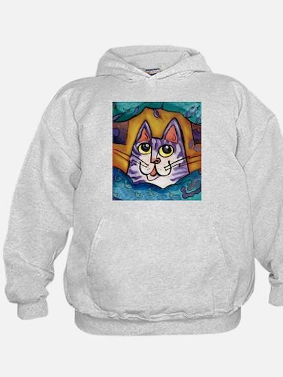 Fun Happy Purple Cat Hoodie
