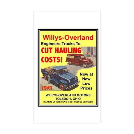 """1949 Willys Ad"" Rectangle Sticker"