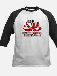 Red For Mother Heart Disease Shirt Kids Baseball J